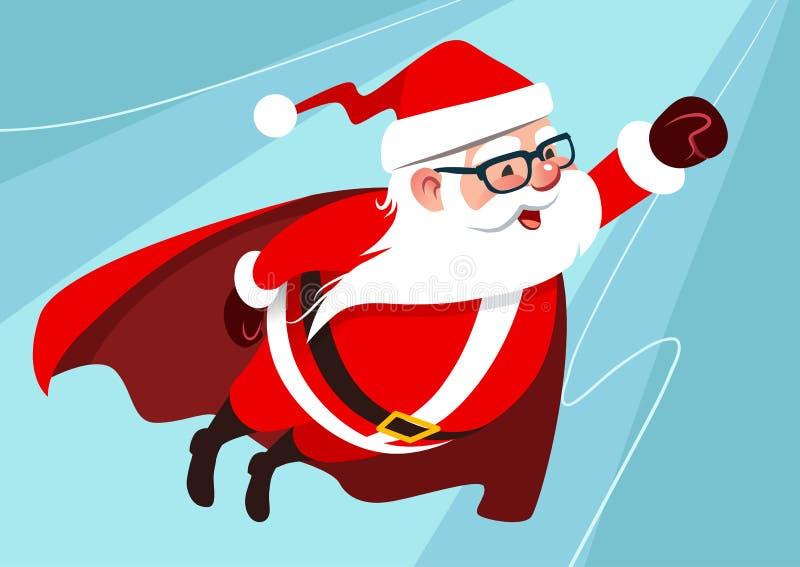 传染媒介逗人喜爱的滑稽的圣诞老人的动画片例证作为superhe的 向量例证