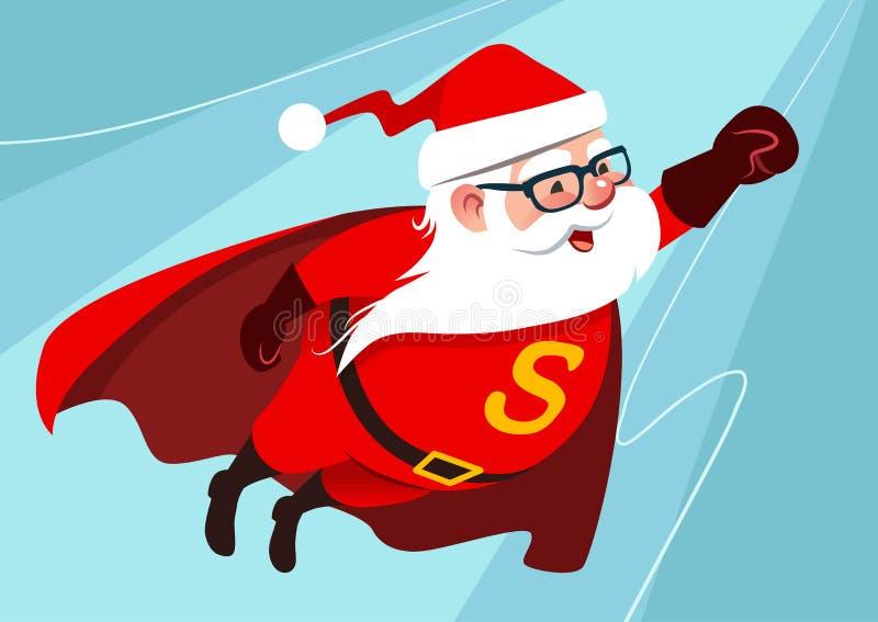 传染媒介逗人喜爱的滑稽的圣诞老人的动画片例证作为superhe的 皇族释放例证