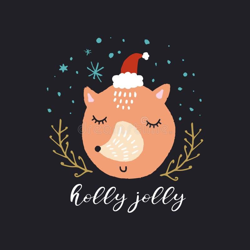 传染媒介逗人喜爱的狐狸 圣诞快乐,愉快地霍莉 托儿所假日例证 皇族释放例证