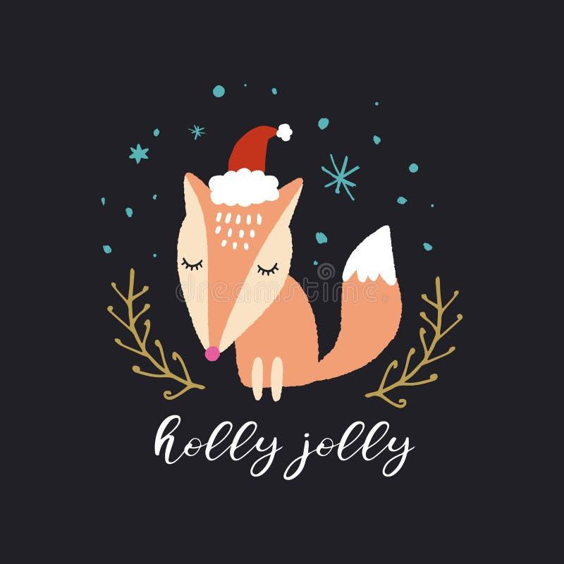 传染媒介逗人喜爱的狐狸 圣诞快乐,愉快地霍莉 托儿所假日例证 向量例证