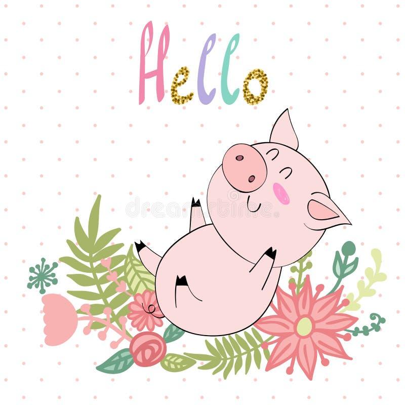 传染媒介逗人喜爱的猪 向量例证