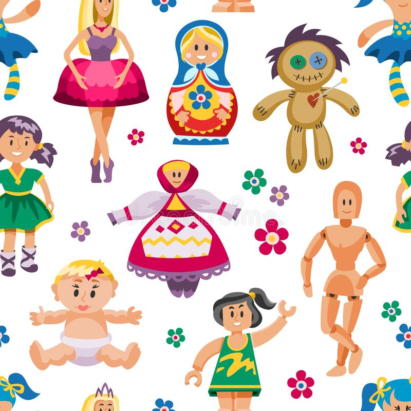 传染媒介逗人喜爱的玩偶玩具设置了童年婴孩礼服面孔玩具屋儿童被隔绝的婴孩动画片的儿童例证  向量例证