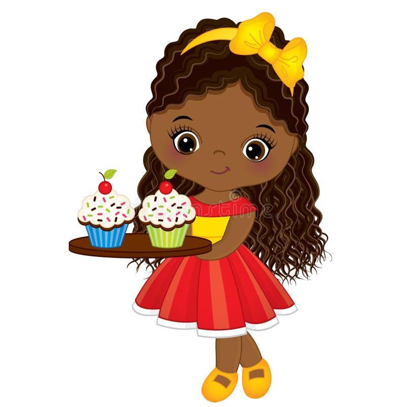 传染媒介逗人喜爱的矮小的非裔美国人的女孩用杯形蛋糕 库存例证