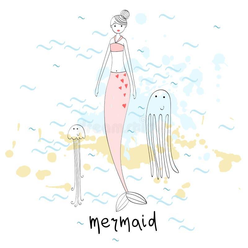 插画 包括有 简单, 线路, 敬慕, 公主, 海运, 孩子, 美人鱼