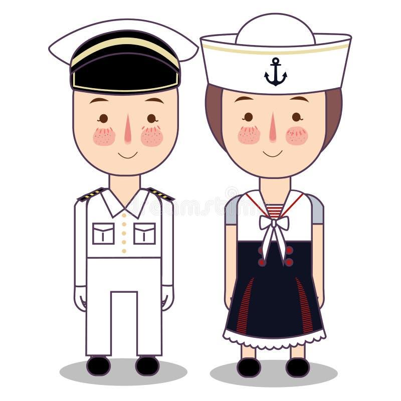 传染媒介逗人喜爱的船舶水手男孩和女孩的动画片例证被隔绝反对白色背景 库存例证