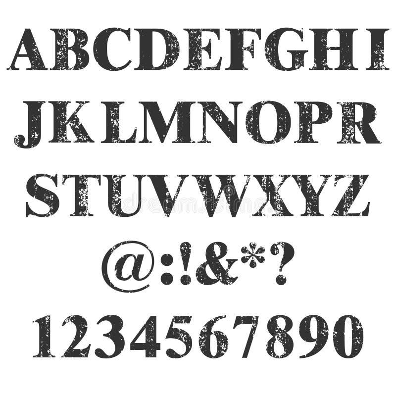 传染媒介邮票所有信件和数字 Grunge纹理 葡萄酒元素 也corel凹道例证向量 肮脏的信件字体 困厄字母表 皇族释放例证