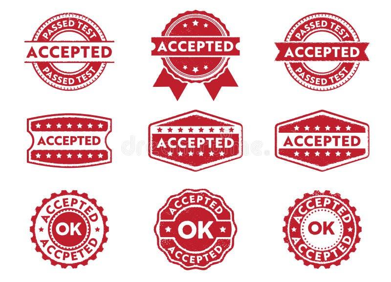 传染媒介邮票批准的徽章标签,接受,通过,授予公文标志 皇族释放例证
