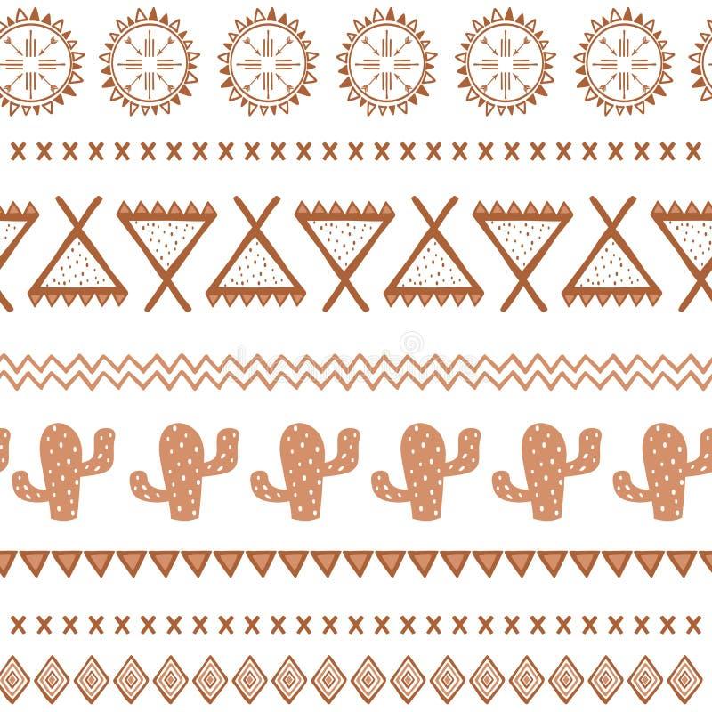 传染媒介部族种族无缝的样式 阿兹台克抽象背景 在咖啡褐色颜色的墨西哥装饰品纹理 皇族释放例证