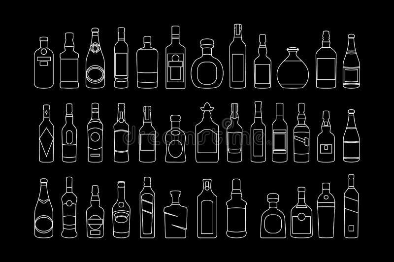 传染媒介酒精瓶排行象集合 例证饮料 广告和网艺术的对象 皇族释放例证