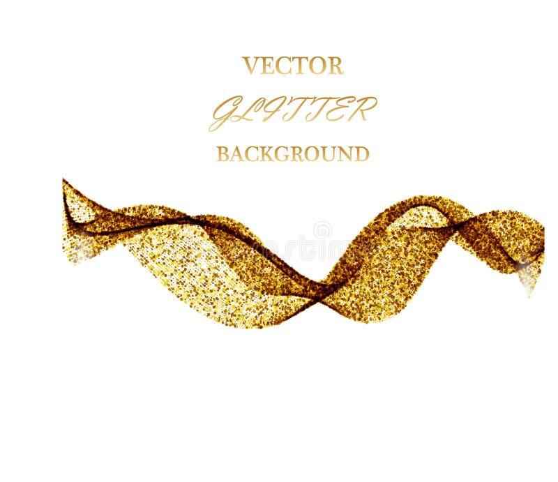 传染媒介金子闪烁波浪摘要背景,在白色背景的金黄闪闪发光 库存例证