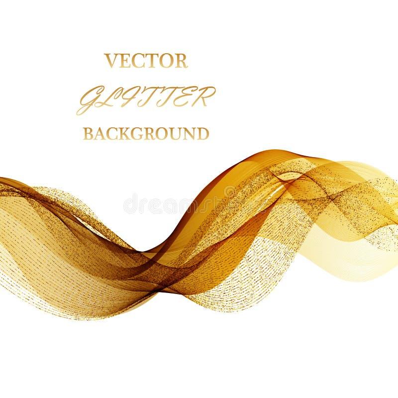 传染媒介金子闪烁波浪摘要背景,在白色背景的金黄闪闪发光 皇族释放例证