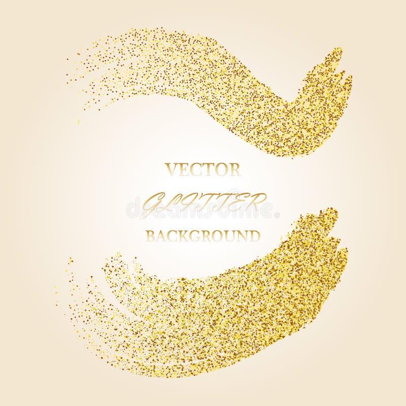 传染媒介金子闪烁波浪摘要背景,在白色背景的金黄闪闪发光 向量例证
