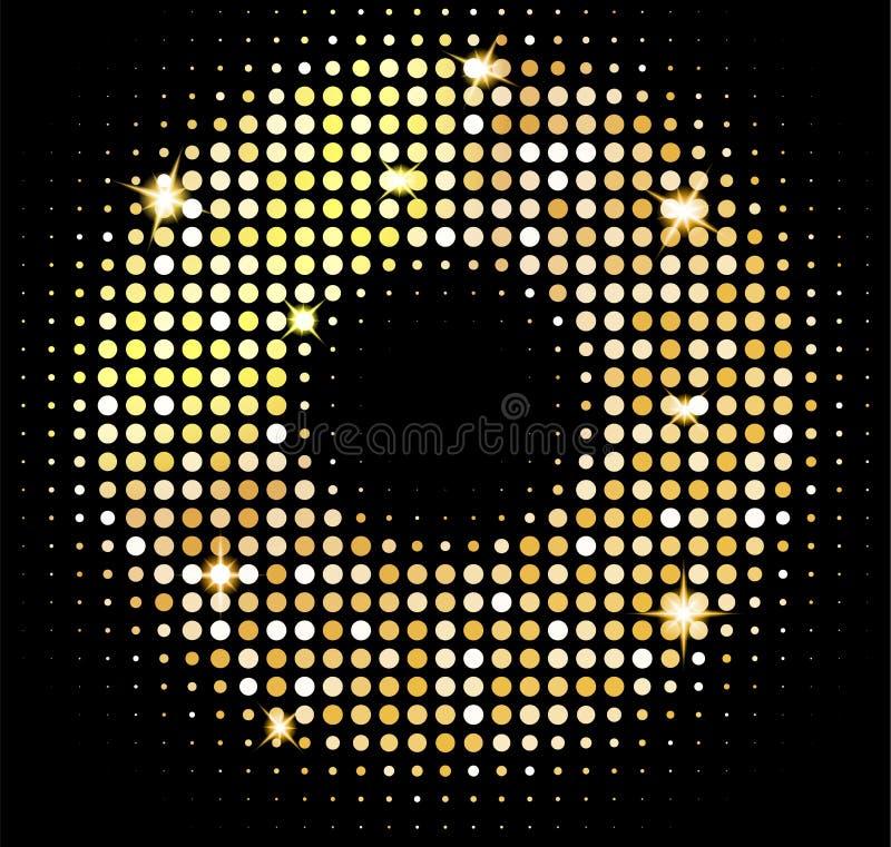 传染媒介金迪斯科点燃背景 在迪斯科球样式的金黄发光的马赛克 抽象背景 皇族释放例证