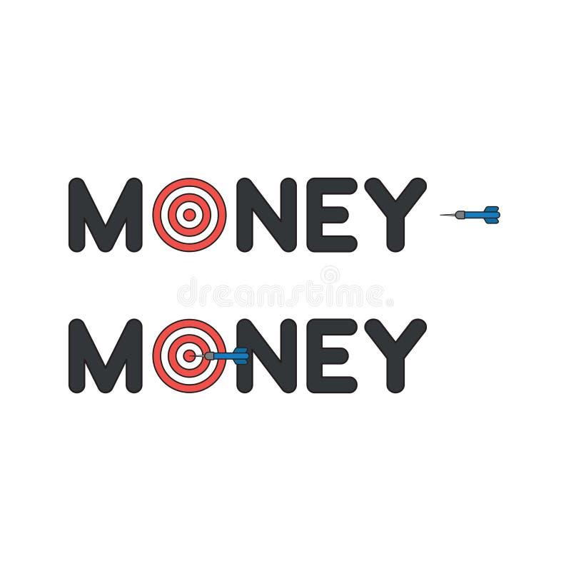 传染媒介金钱词的象概念与靶心和箭的和击中目标 皇族释放例证
