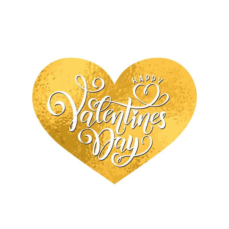 传染媒介金黄箔手写的在上写字的愉快的情人节 书法拉长的文本情人节心脏金子形状 库存例证