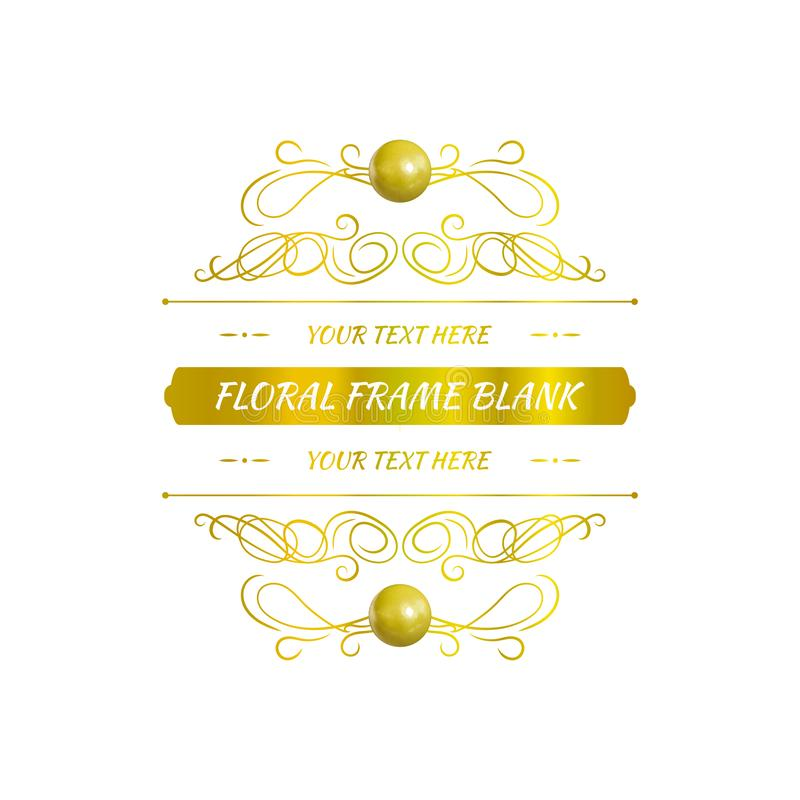 传染媒介金黄葡萄酒框架,在白色背景隔绝的设计元素 向量例证