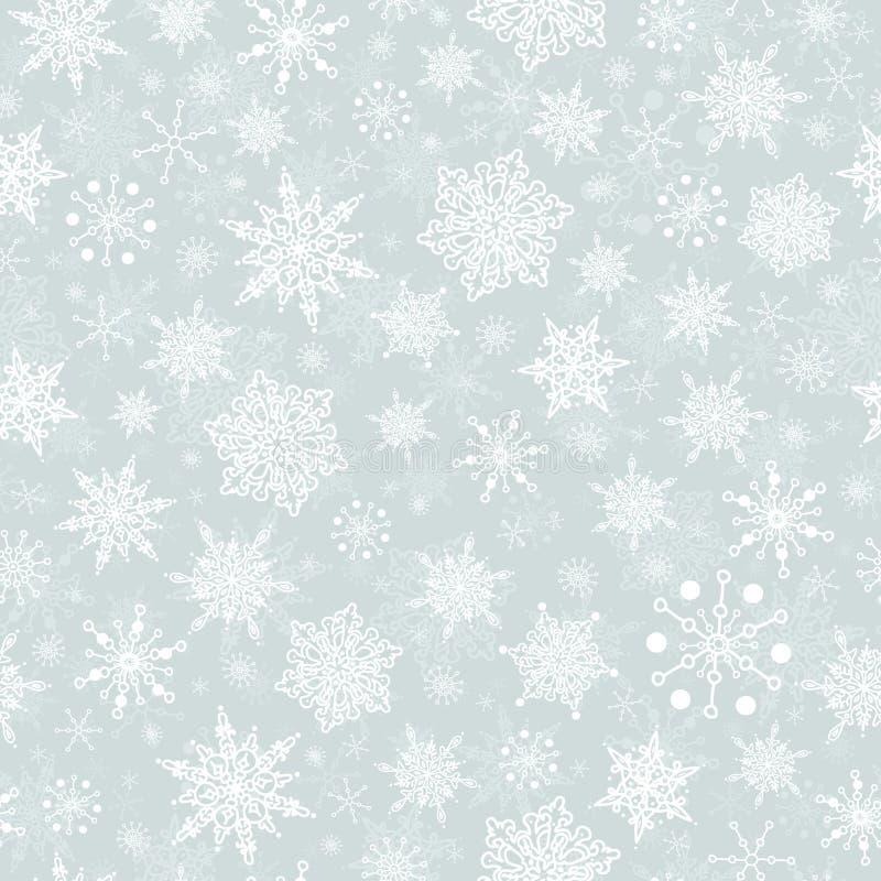 传染媒介银灰色手拉的christmass雪花重复无缝的样式背景 能为织品使用 向量例证