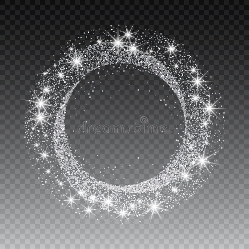 传染媒介银闪烁圈子摘要背景,银在白色背景,银闪烁卡片设计闪耀 库存例证