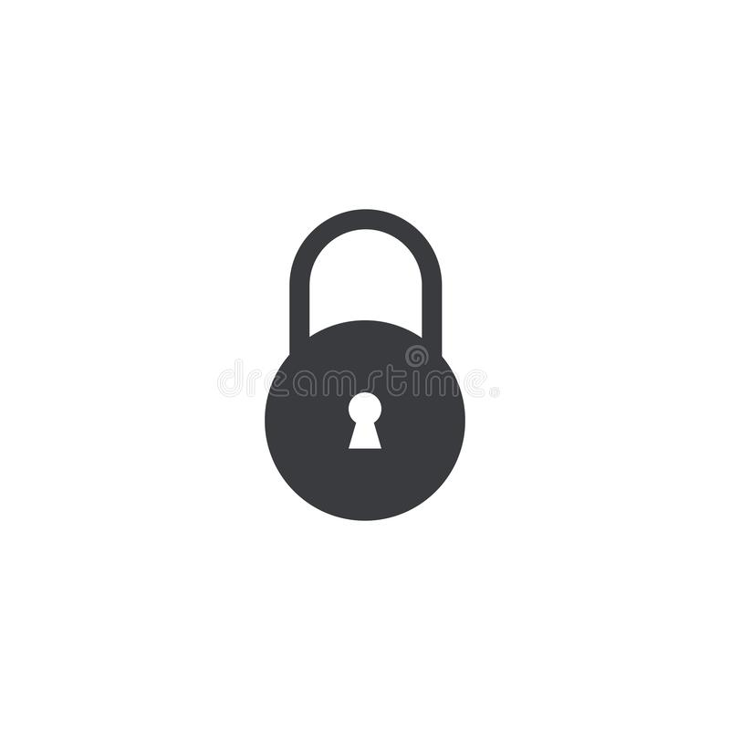 传染媒介锁象隔绝了 与匙孔的锁形状 设计元素流动应用程序或网站 传染媒介接口按钮 接近的标志 皇族释放例证