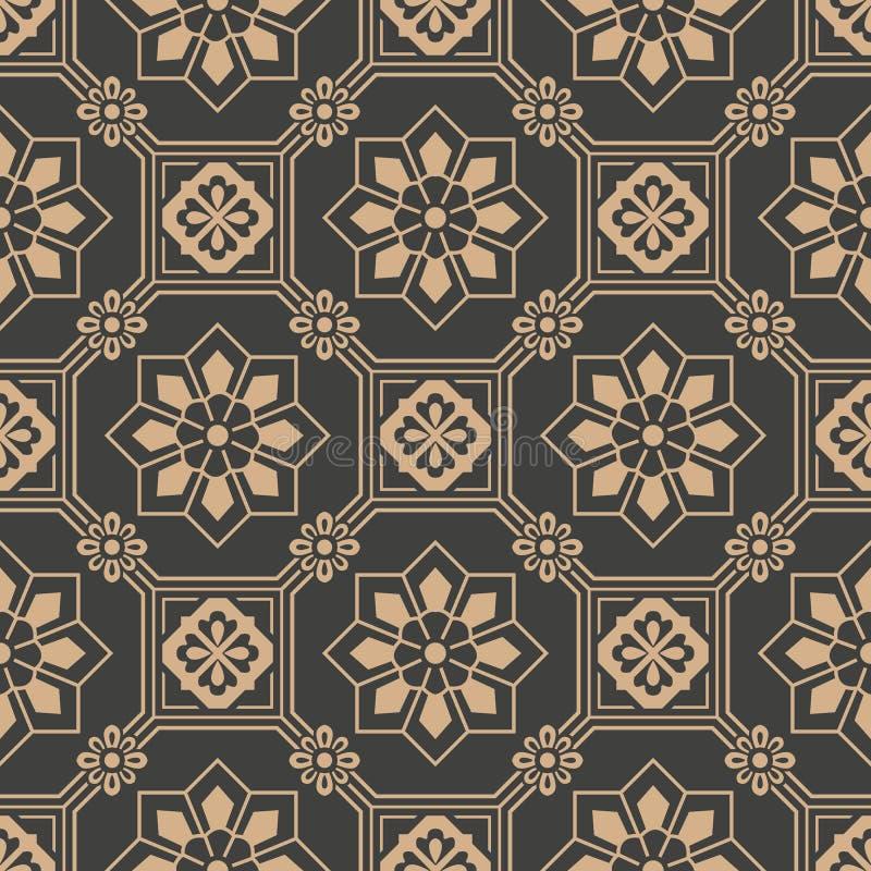 传染媒介锦缎无缝的减速火箭的样式背景东方八角形物方形的几何十字架框架花 典雅的豪华棕色口气 向量例证