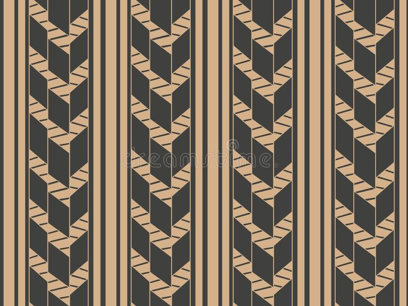 传染媒介锦缎无缝的减速火箭的样式背景几何十字架分格线 墙纸的典雅的豪华棕色口气设计, 库存例证
