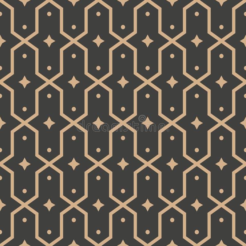传染媒介锦缎无缝的减速火箭的样式背景多角形几何十字架框架星万花筒 典雅的豪华棕色口气设计 向量例证