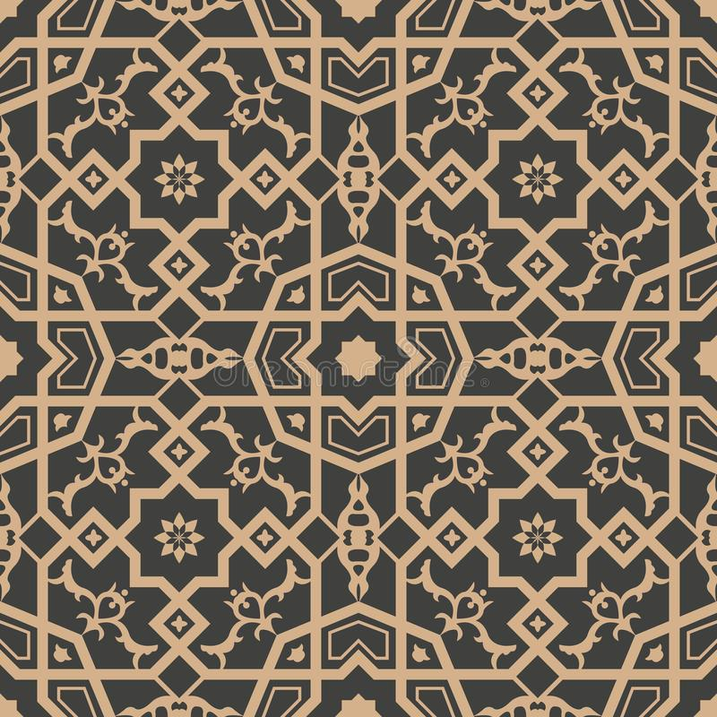 传染媒介锦缎无缝的减速火箭的样式背景多角形几何十字架框架花万花筒 典雅的豪华棕色口气设计 皇族释放例证