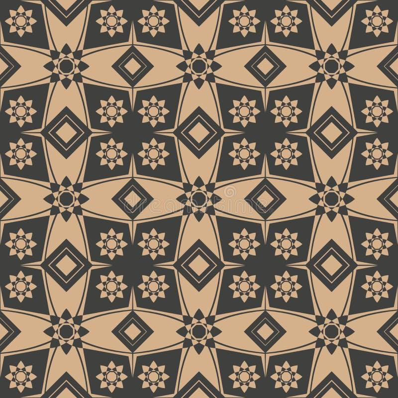 传染媒介锦缎无缝的减速火箭的样式背景多角形几何星发怒花万花筒 典雅的豪华棕色口气设计 库存例证