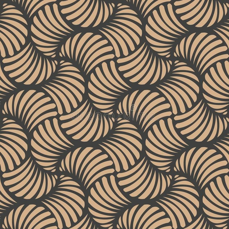传染媒介锦缎无缝的减速火箭的样式背景波浪螺旋曲线发怒漩涡 墙纸的典雅的豪华棕色口气设计, 皇族释放例证