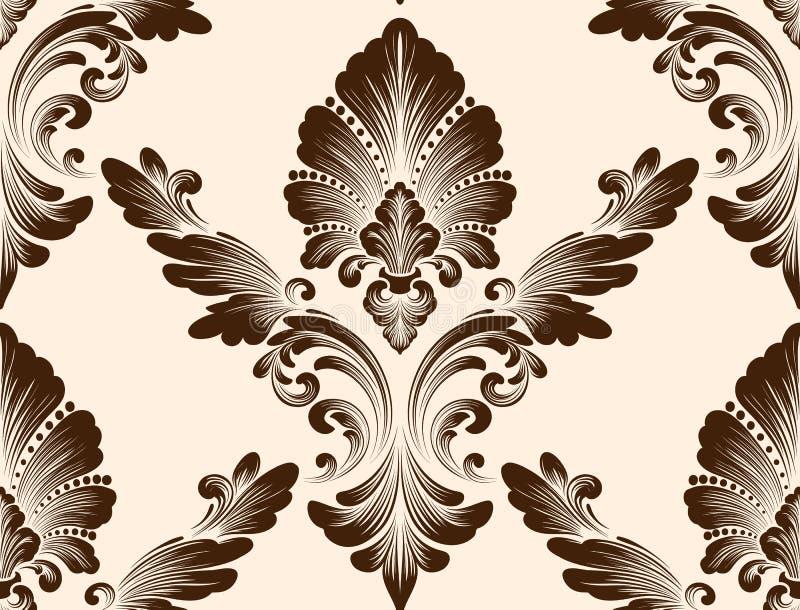 传染媒介锦缎无缝的样式元素 古典豪华古板的锦缎装饰品,皇家维多利亚女王时代的无缝的纹理 向量例证