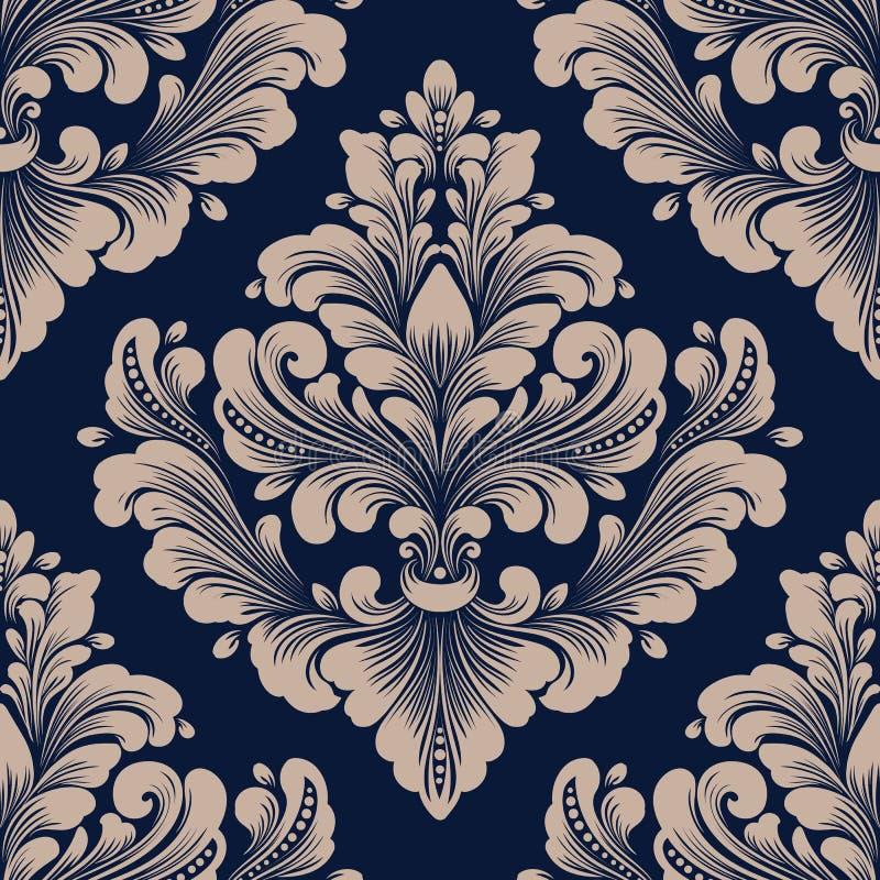 传染媒介锦缎无缝的样式元素 古典豪华古板的锦缎装饰品,皇家维多利亚女王时代的无缝的纹理 库存例证