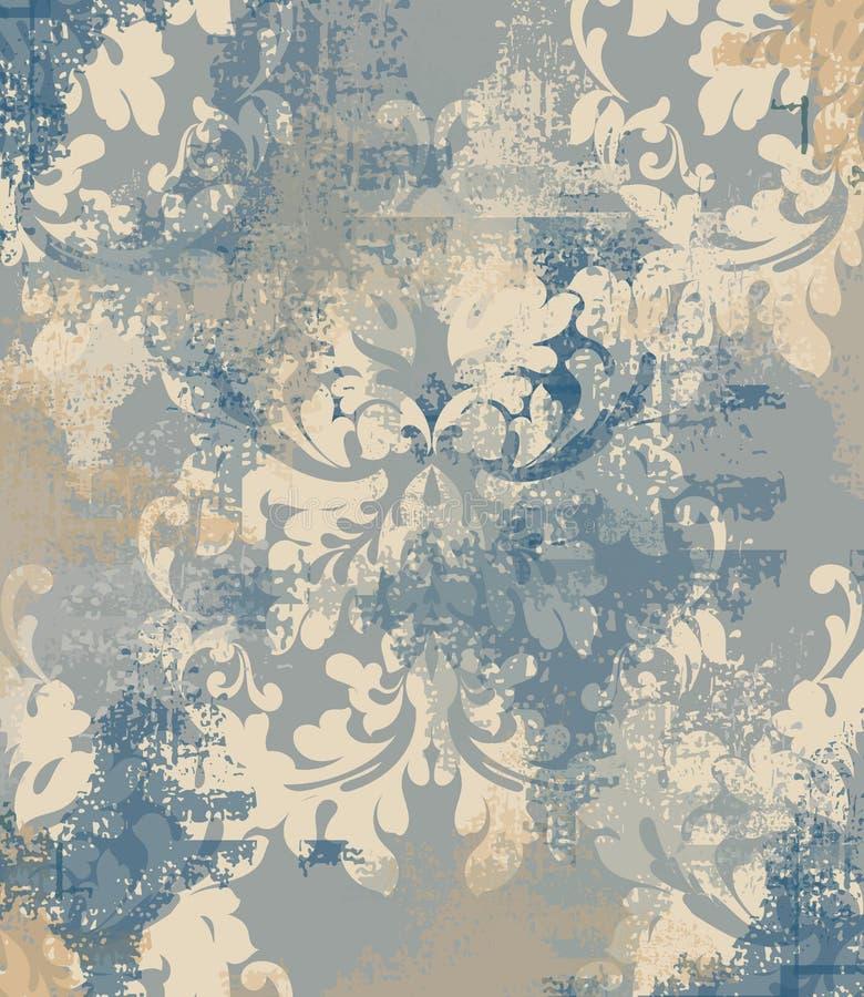 传染媒介锦缎样式元素 在难看的东西背景的经典豪华装饰品 墙纸的皇家维多利亚女王时代的纹理 库存例证