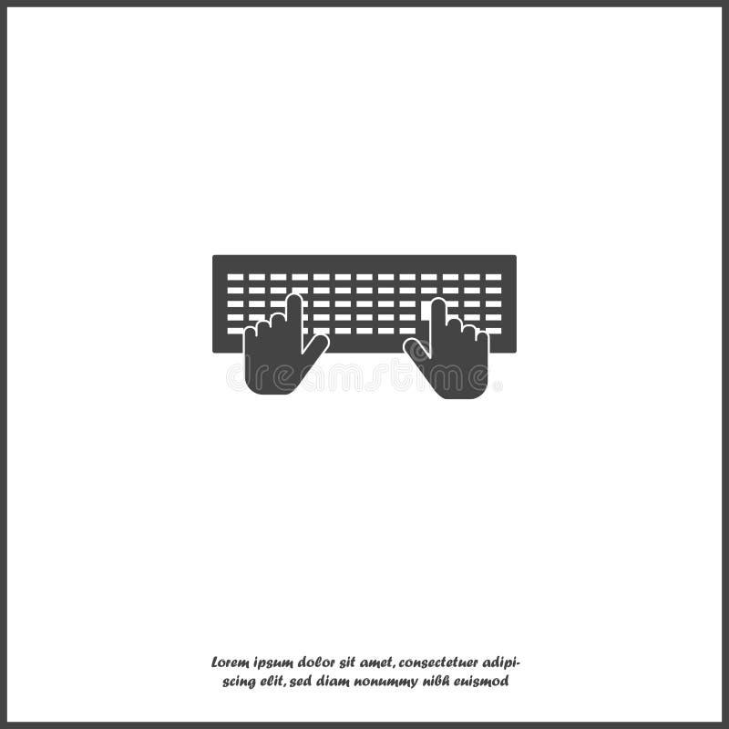 传染媒介键盘和手象 事务,在白色被隔绝的背景的工作的标志   向量例证