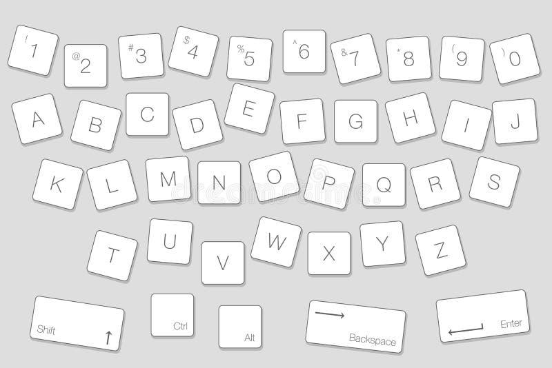 传染媒介键盘计算机信函钥匙 被隔绝的白色按钮  向量例证