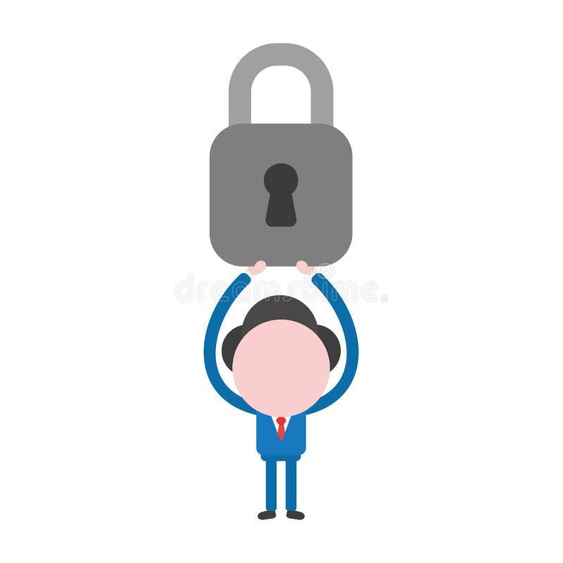 传染媒介阻止被关闭的挂锁的商人字符 库存例证