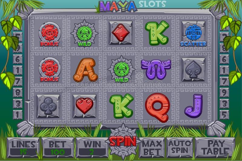 传染媒介阿兹台克人开槽石象 图形用户界面完全菜单和按钮全套经典赌博娱乐场的 库存例证