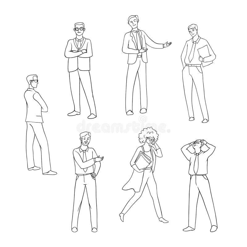 传染媒介集合剪影黑色等高隔绝了商人的例证 男人和妇女衣服的用不同的情感 向量例证