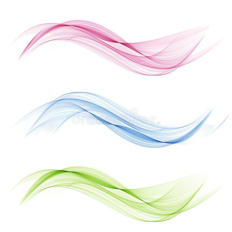 传染媒介集合抽象波浪 蓝色通知 绿色波浪 红色通知 透明波浪集合 颜色波浪 烟波浪 皇族释放例证