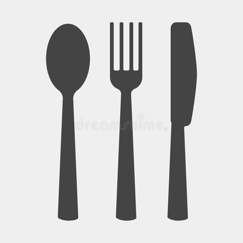传染媒介集合象刀子,叉子,匙子 刀叉餐具 在wh的表设置 库存例证