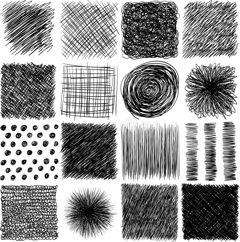 传染媒介集合,着墨手拉的舱口盖纹理 抽象难看的东西线,点,孵化,冲程和其他图形设计 向量例证