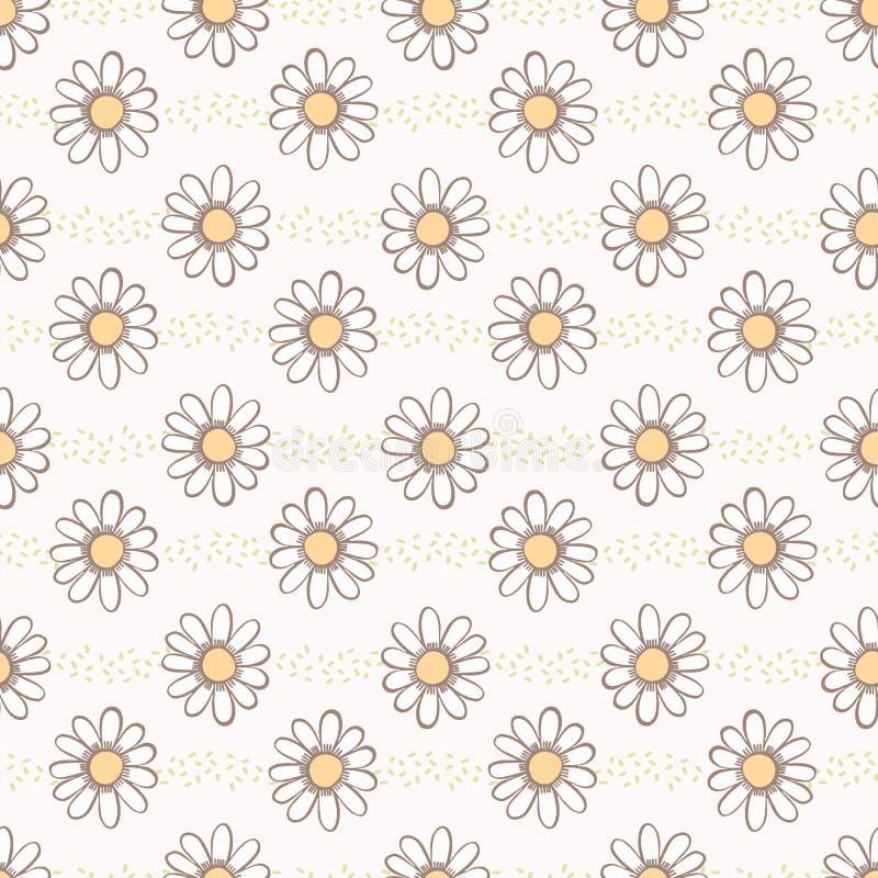 传染媒介雏菊春黄菊开花手拉的无缝的传染媒介样式 向量例证