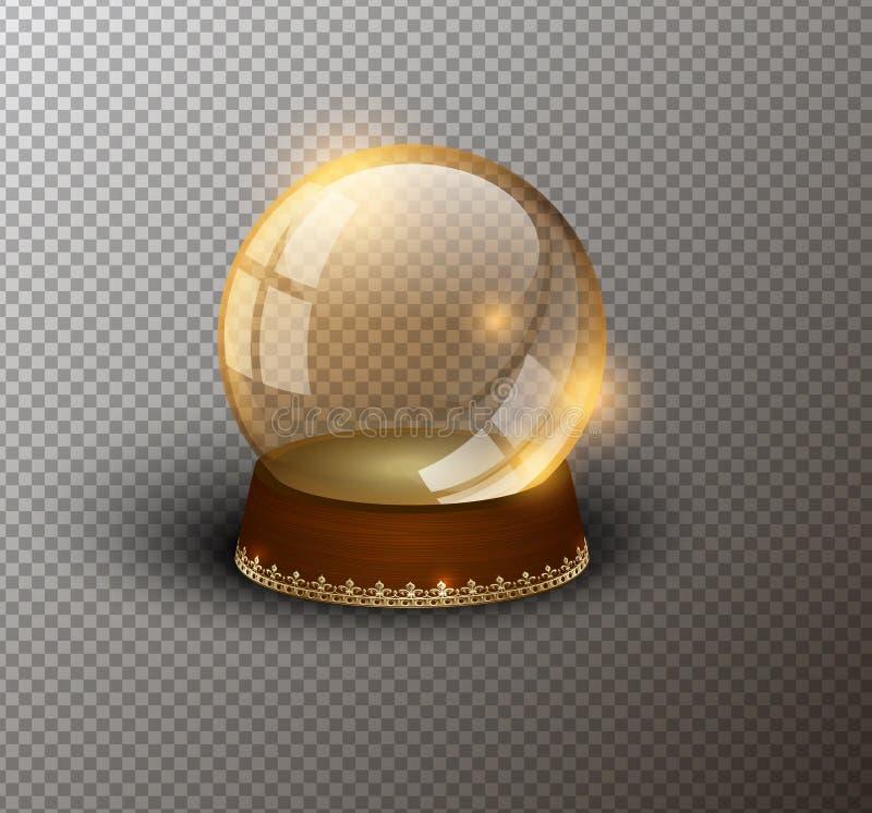 传染媒介雪地球空的模板被隔绝的透明背景 圣诞节魔术球 黄色玻璃球圆顶,木立场 皇族释放例证