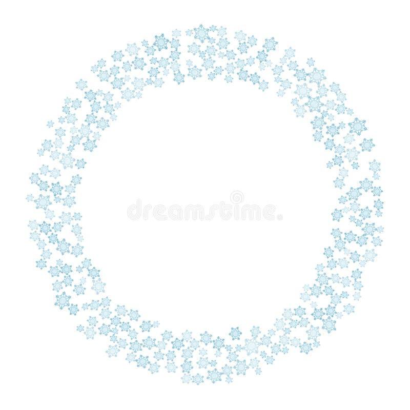 传染媒介雪花冬天花圈 圣诞节和新年明信片的圈子装饰品 向量例证