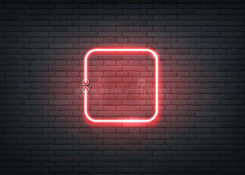 传染媒介霓虹方形的红色标志酒吧夜总会 向量例证