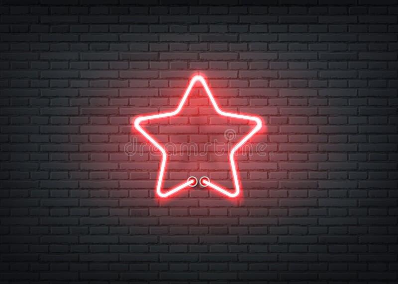 传染媒介霓虹星红色标志酒吧夜总会 皇族释放例证
