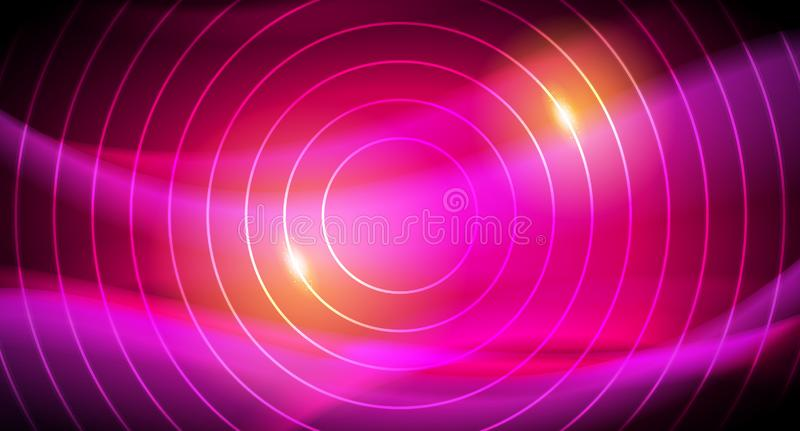传染媒介霓虹未来发光的Techno线,高科技未来派抽象背景模板 向量例证