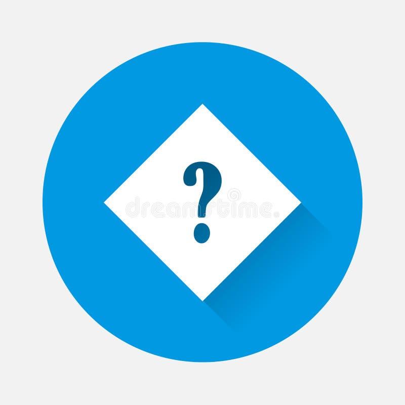 传染媒介霓虹灯象在菱形的问号 在蓝色背景的标点符号标志与长的阴影的一个平的图象 库存例证
