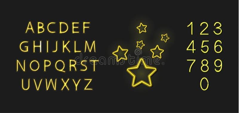 传染媒介霓虹金黄字体和星象,在白色背景隔绝的发光的例证,胜利奖概念,奖励 库存例证