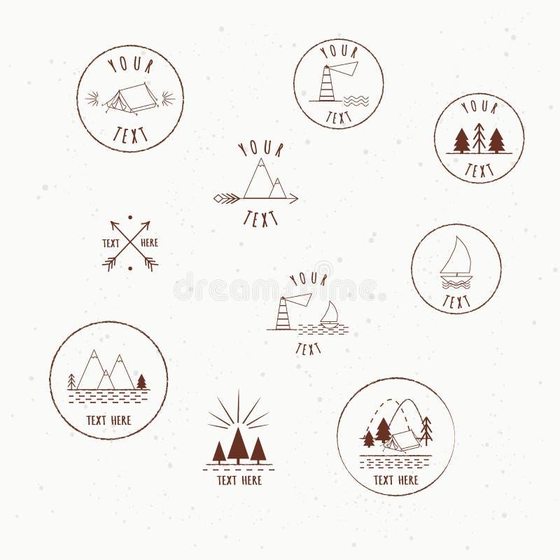 传染媒介露营车的商标设计,象征的元素 室外活动标志 稀薄的线型象集合,圈子形状,被隔绝 向量例证