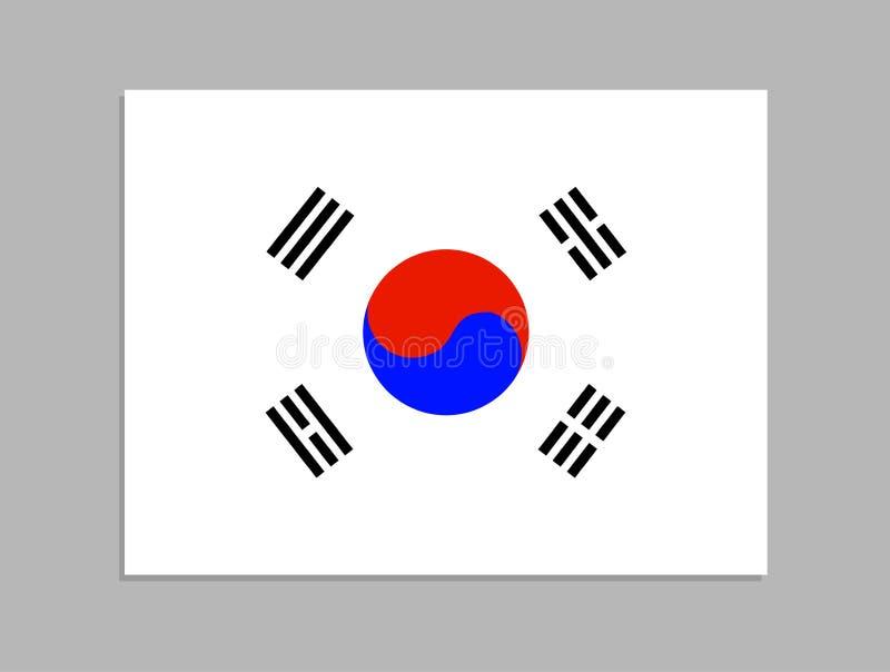 传染媒介韩国旗子,正式国家标志,隔绝在灰色与阴影的背景平的对象 向量例证